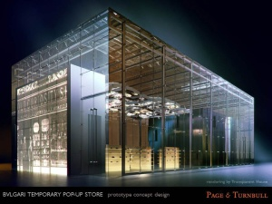 Bvlgari Temporary Pop-Up Store, prototype concept design. Rendering by Transparent House.